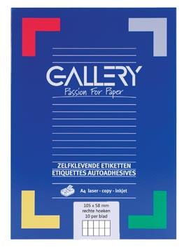 Gallery witte etiketten ft 105 x 58 mm (b x h), rechte hoeken, doos van 1.000 etiketten