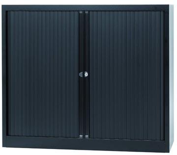 Bisley roldeurkast, ft 103 x 120 x 43 cm (h x b x d), 2 legborden, zwart