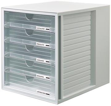 Han ladenblok Systembox met 5 gesloten laden, transparant