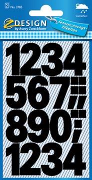Avery Etiketten cijfers en letters 0-9 groot, 2 blad, zwart, waterbestendige folie