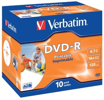 Verbatim DVD recordable DVD-R, printbaar, doos van 10 stuks, individueel verpakt (Jewel Case)