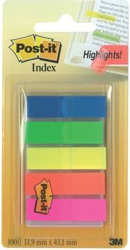 Post-it Notes Index Translucent, ft 12 x 43 mm, geassorteerde kleuren, 20 tabs per kleur