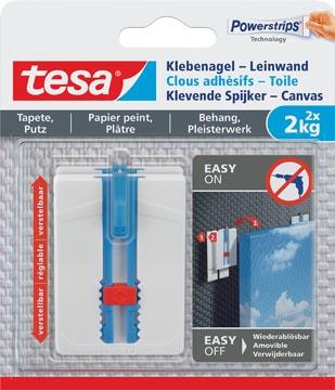 Tesa Klevende Spijker Canvas, draagkracht 2 kg, behang en pleisterwerk, wit, 2 spijkers en 6 strips