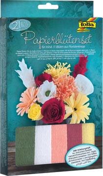 Folia knutselset crêpe papier bloemen, 21-delig