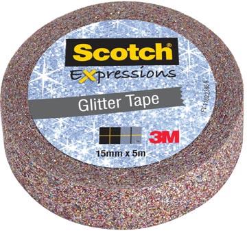 Scotch Expressions glitter tape, 15 mm x 5 m, multi colored