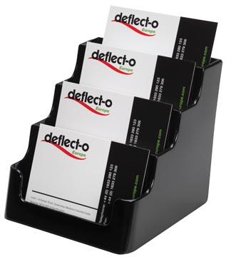 Deflecto Visitekaarthouder 4 opbergvakken, zwart