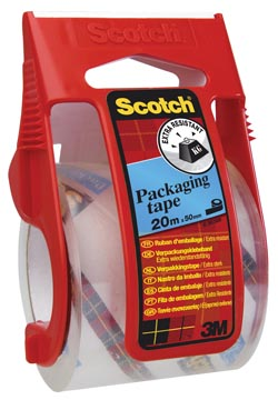 Scotch afroller met verpakkingsplakband, ft 50 mm x 20 m, transparant