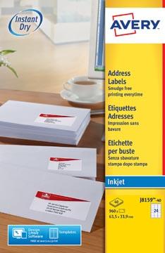 Avery Witte etiketten QuickDry doos van 40 blad, ft 63,5 x 33,9 mm (b x h), 960 stuks, 24 per blad