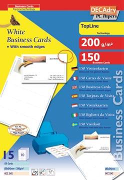 Decadry visitekaarten TopLine 150 kaartjes (10 kaartjes ft 85 x 54 mm per A4), rechte hoeken